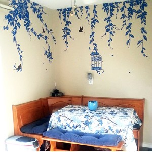 Pop Decors Removable Vinyl Art Wall Decals Mural, Elegant Leaves and Bird Cage with Flying Birds by...