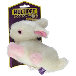 Multipet's Look Who's Talking Plush Filled Rabbit 6-In Dog Toy Stuffed Pet
