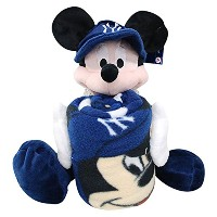 Northwest MLB ニューヨーク・ヤンキース Mickey Shaped Pillow with Fleece Throw Set - [その他]