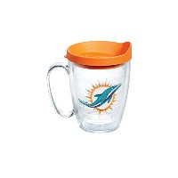 Tervis NFL Miami Dolphinsエンブレム個々Mug withオレンジ蓋、16オンス、クリア