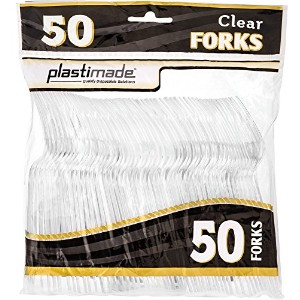 PlastimadeカトラリーHeavy WeightクリアプラスチックForks 50Forks in aパック PCF2450C