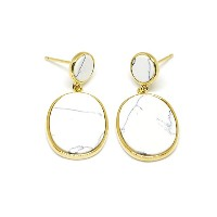 Howlite Circle&Roundness Square Gold Plated Pierce SV925