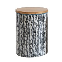 Creative Co-op Stoneware Jar with Design and Wood Lid, Navy, Large by Creative Co-op