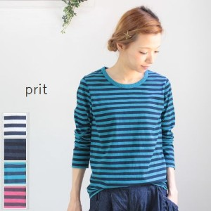 prit(プリット) 30/1リサイクルムラ糸天竺ボーダークルーネック 4colormade in japan90886