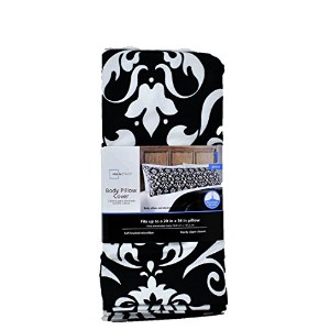 Black & White Damask Patterned Body Pillow Cover by Mainstays [並行輸入品]