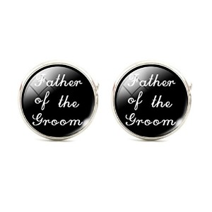 スチームパンクFather of the Groom Cuff Links Mens Cufflinks Wedding Groomsmenブラックandホワイト