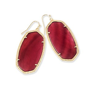 Kendra Scott署名Danielle Earrings in Gold Plated and Burgundy Illusion