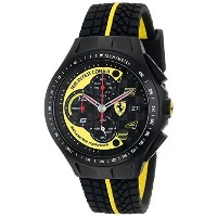 フェラーリ Ferrari Men's 0830078 Race Day Black and Yellow Watch with Textured Rubber Strap [並行輸入品]