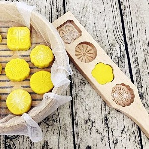 Astra shop Mini Wooden Chinese Mid-autumn Festival Mooncake Mold Making 4 Traditional Flower Shape...