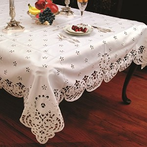 Daisy Design With Cutwork Tablecloth White 70 by 105 Oblong / Rectangle by Violet Linen