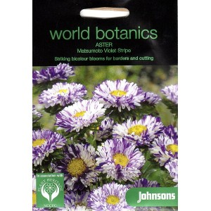 【輸入種子】Johnsons SeedsWorld Botanics CollectionAster Matsumoto Violet Stripeアスター・マツモト(松本)・ヴァイオレット...