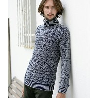 【CAMBIO(カンビオ)】【予約販売9月上旬〜中旬入荷】CMB44003 - Vintage Processing Cable Border Turtle Neck Knit Pullover...