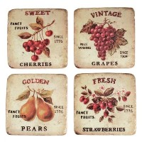 TWINE Vintage Fruit Soapstone Coasters with Cork Backing, Set of 4 - Includes one of Each Grapes,...