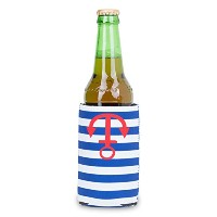 Zees Inc The Cool Sack-Neoprene Np507 Stripes With Anchor Pattern Can Cooler, Blue [並行輸入品]