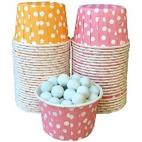 Outside theボックス・ペーパーオレンジandピンクPolka Dot Candy /ナットMini Baking Cups 48パックオレンジ、ホワイト、ピンク