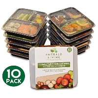  10 pack  3 Compartment Meal Prep Food Containers Bento Box Set with Lids. Dishwasher, Microwave &...
