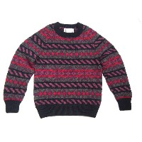 【期間限定40%OFF!】INVERALLAN(インバーアラン)/別注 45D CREWNECK HANDKNIT FAIRISLE SWEATER/navy x purple x charcoal...