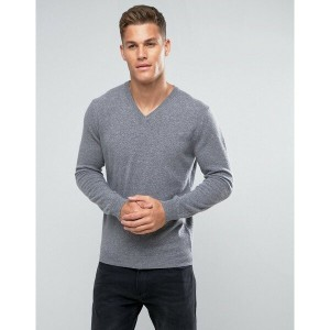 ベネトン メンズ カーディガン アウター United Colors of Benetton 100% Merino V-Neck Jumper In Grey Grey