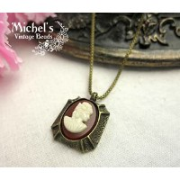 Michel's Vintage Beads Neckrace Cameoヴィンテージビーズネックレス・カメオ
