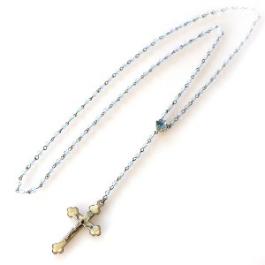 Michel's Vintage Beads Neckrace Rosary Clossヴィンテージビーズネックレス/ロザリオ・クロスペンダント