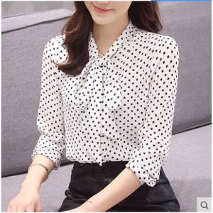 Wave point chiffon shirt 2017 spring and autumn new womens Han Fan long-sleeved shirt bow tie