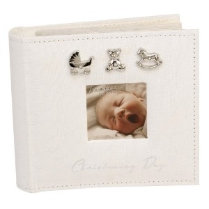 Bambino CG921 Baby Christening Guest Book, Silver Charms by Bambino