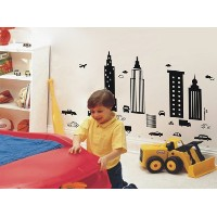 Pop Decors Removable Vinyl Art Wall Decals Mural for Nursery Room, Modern City by Pop Decors