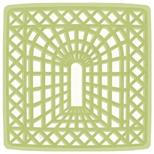 Entertaining with Caspari Garden Trellis Square Dinner Plates、グリーン、8パック Salad Plates グリーン 225
