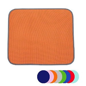Jovilife Dish Drying Mat Kitchen Mat(set of 2) Microfiber Absorbent Washable, 16*18 Inch, Orange by...