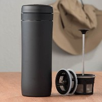 Espro Travel Press – French Press旅行マグ、ステンレススチール+ボーナス木製Stirring Spoon ( withコーヒーフィルタ、レッド、12オンス) with...