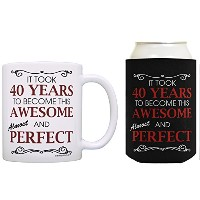Took 40Years To Become Awesome Almost Perfect Can CoolieドリンククーラーCoolies 12オンス ブラック