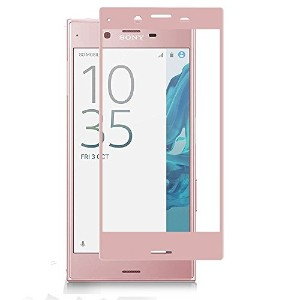 AutoGo Sony Xperia XZ ガラスフィルム 炭素繊維 3D 全面保護 フィルム 日本製素材旭硝子 採用 硬度9H 0.15mm 【全4色】ピンク