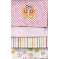 Carter's 4 Flannel Blanket Set For Baby Girl Pink Blankets embroidered Butterfly by Carter's