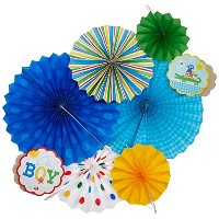 Baby Shower 'Ahoy Baby' Paper Fan Decorations (6pc) by Amscan