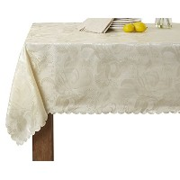 European Rose Design Tablecloth Ivory 52 by 70 Oblong / Rectangle by Violet Linen