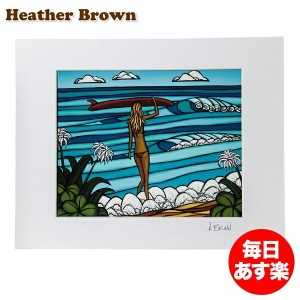 Heather Brown ヘザーブラウン Open Edition Matted Art Prints アートプリント Surf Stroll サーフストロール HB9131P ハワイ 絵画...
