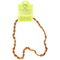 Momma Goose Teething Necklace, Cognac, 18 by Momma Goose