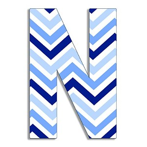 The Kids Room by Stupell Tri-Blue Chevron Hanging Wall Initial, N, 18 by The Kids Room by Stupell
