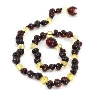 Baltic Baby Amber Necklace Rounded Beads (Cherry/Limone, Small) by Momma Goose