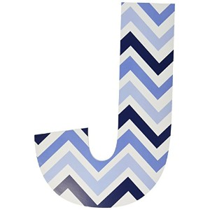 The Kids Room by Stupell Tri-Blue Chevron Hanging Wall Initial, J, 18 by The Kids Room by Stupell