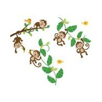 Monkeys Swinging on Vines Giant Peel & Stick Wall Art Sticker Decals by CherryCreek Decals