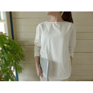 evam eva(エヴァムエヴァ) button back shirt(E171T149)