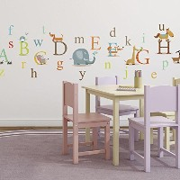 Classic Animals Alphabet Baby Nursery Peel & Stick Wall Art Sticker Decals by CherryCreek Decals