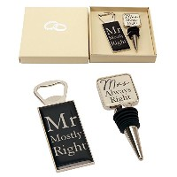 "「Mr Right & Mrs Always Right ""ワインボトルストッパーand Opener特別なギフトセットby Haysom Interiors"
