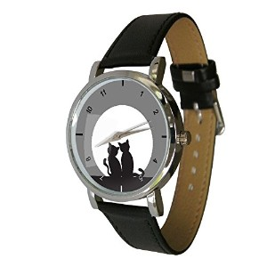 Cats Watching The Moonデザインファッション時計。Ideal猫Gift Idea For Any Cat Lover ( c4)