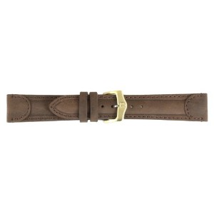 Men 's 18mmブラウンAged Padded Genuine Calf Leather Watch Strap Band