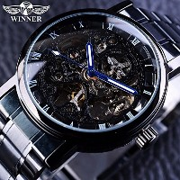 Black Stainless Steel Blue Hands Luminous Mens Watches