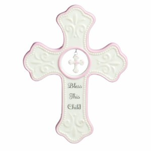 Nat and Jules Bless This Child Hanging Cross, Pink by Nat and Jules