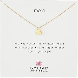 """Dogeared """" Mom """" Sparkle Heart Necklace , Gold Dipped 16"""""""