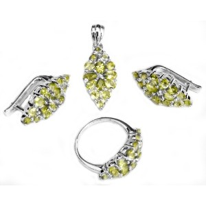 Faceted Peridot Pendant with Earrings and Ring Set - Sterling Silver Ring Size 7